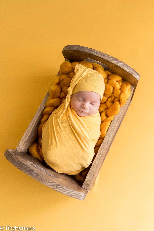 Yellow setup at newborn photo session